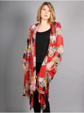 MANTEAU FIRMINE RICHARD ROUGE FLORAL