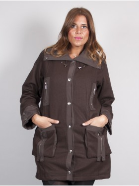 MANTEAU BOUTON MARRON