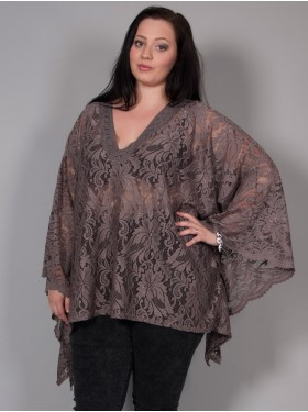 Poncho dentelle motif floral taupe