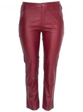 Pantalon aspect cuir bordeaux