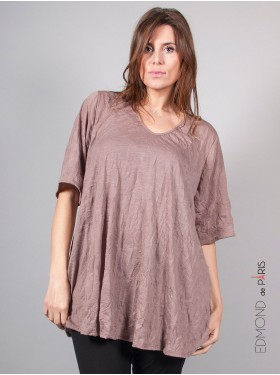 T-shirt trapèze crinkle taupe