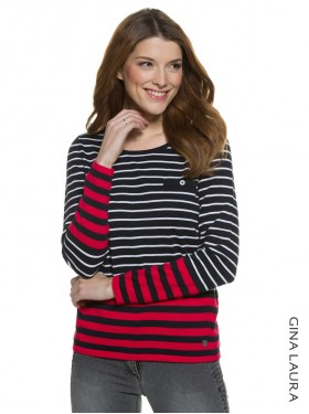 Pull coton rayée Gina Laura noire