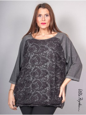 Sweat look dentelle Ulla Popken gris