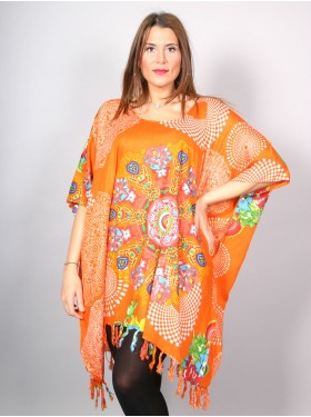 Tunique longue florale orange