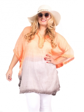 Poncho Tie and Die Orange