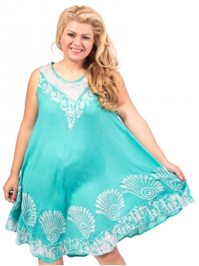 Robe col graphique cyan