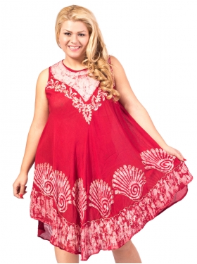 Robe col graphique rouge/blanc