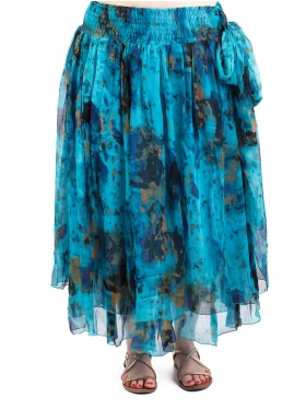 Jupe doublure voile turquoise