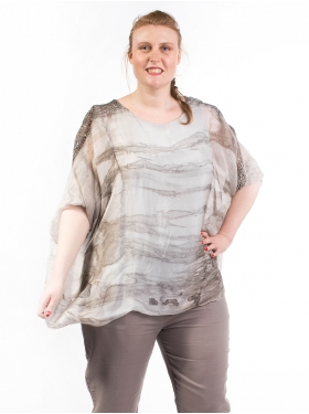 Poncho Voile Taupe
