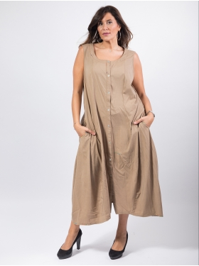 Robe sans manches taupe
