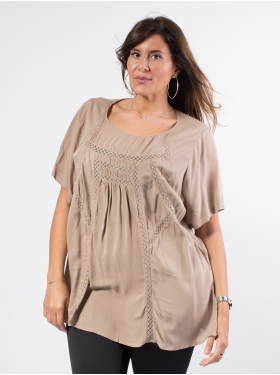 Tunique galon dentelle taupe