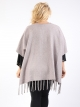 Poncho taupe ouvert avec franges