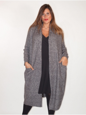 Gilet long chiné anthracite