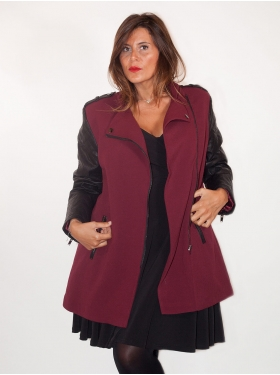 Manteau bordeaux mi-long