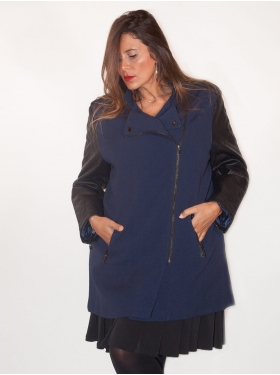 Manteau marine mi-long