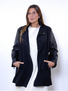 Manteau noir mi-long
