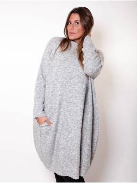 Robe pull longue grise