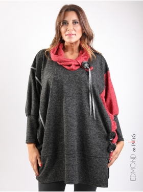 Pull Edmond Boublil boutons col rouge