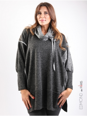 Pull Edmond Boublil boutons col gris