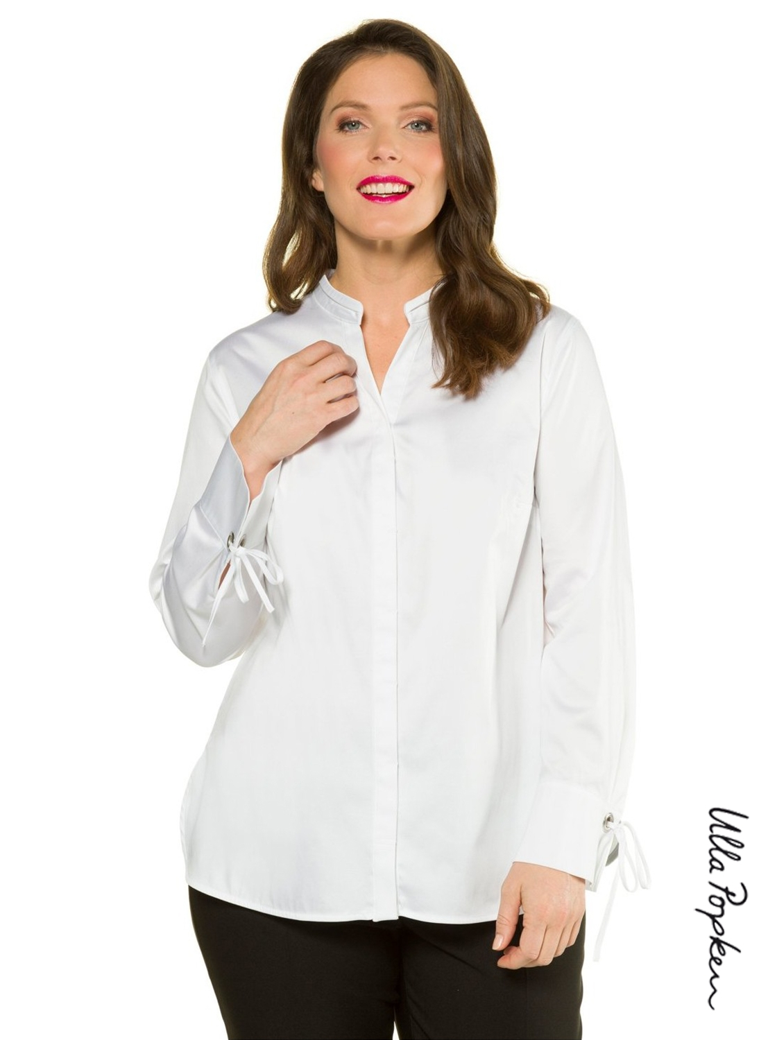 Chemise Ulla Popken blanche, lacets manches