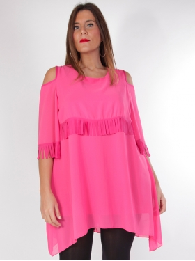 Robe tunique rose à franges