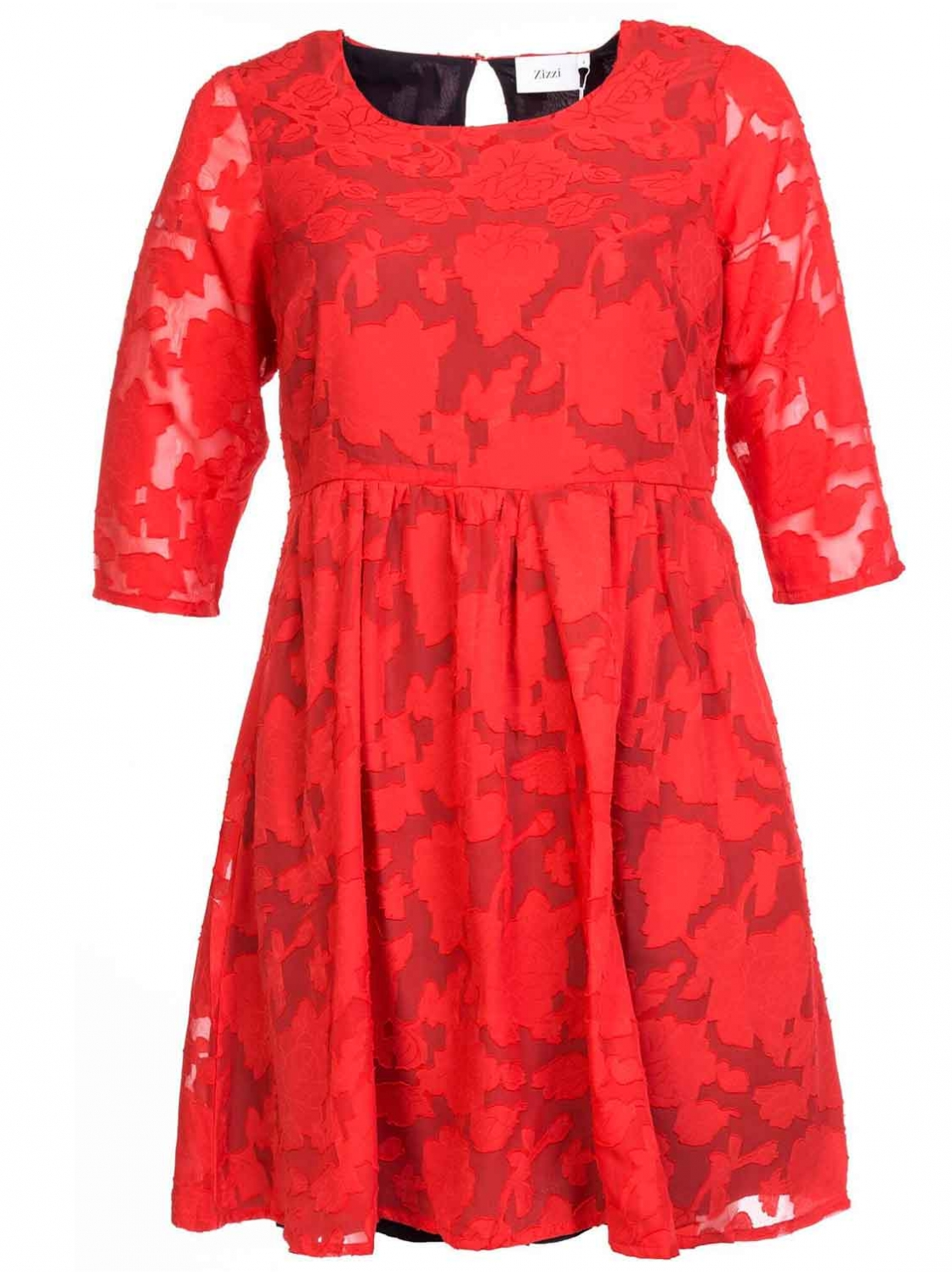 Robe rouge florale