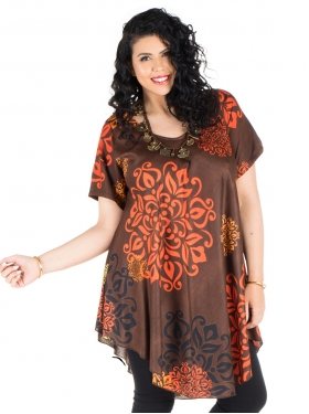 Tunique marron, orange, noire