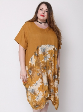 Robe tunique ocre florale