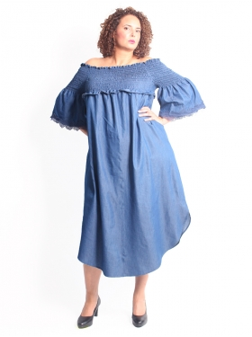 Robe denim col Bardot