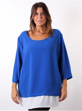 Tunique bi-colore blanche, bleue