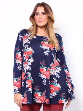 Pull tunique bleue, rouge