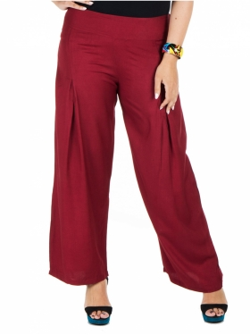 Pantalon large bordeaux