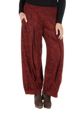 Pantalon mandala bordeaux