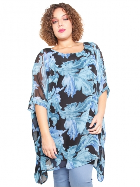 Robe voile noire, turquoise