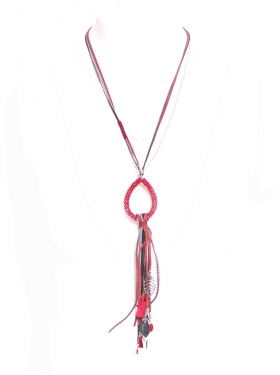 Collier sautoir rouge