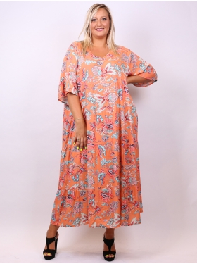 Robe maxi babydoll orange