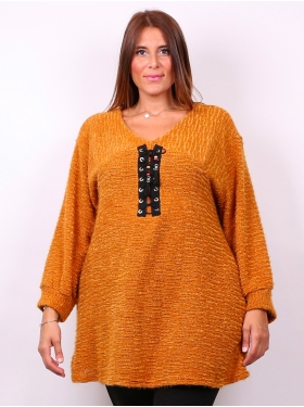 Pull col rond moutarde