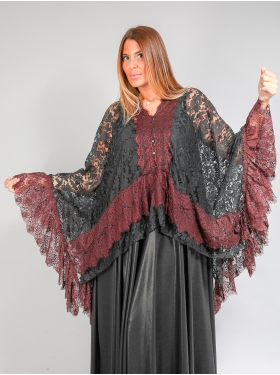 Poncho style baroque noir, rouge
