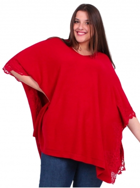 Poncho pull rouge