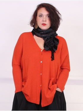 Pull gilet moutarde