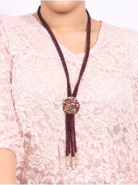 Collier cravate bordeaux