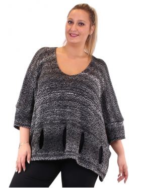 Pull en maille gris grande taille