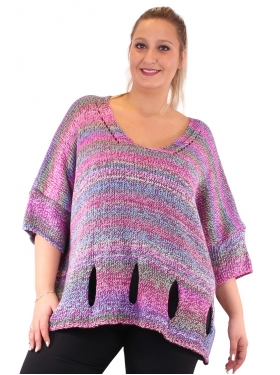 Pull laine rose en maille grande taille