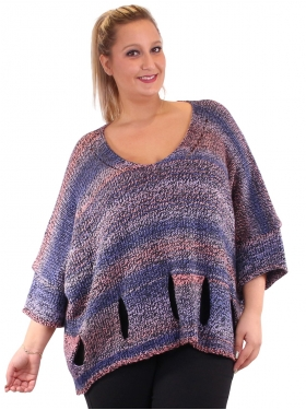 Pull laine marine en maille grande taille