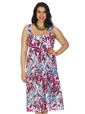 Robe courte blanche, rouge imp. floral