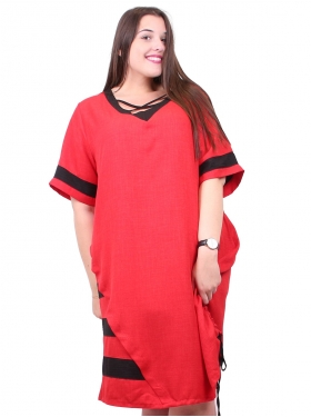 Robe rouge aux manches rayées