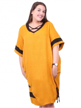 Robe jaune aux manches rayées