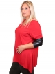 Top rouge, manches simili cuir