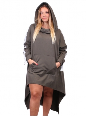 Robe sweat grise à capuche
