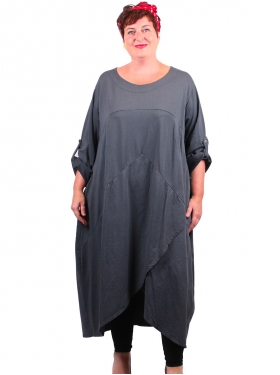 Robe grise manches ourlées ample